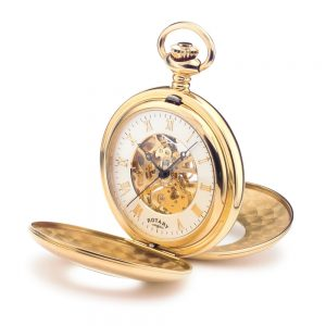 Rotary Mechanical Goldplate Skeleton Half-Hunter Pocket Watch
