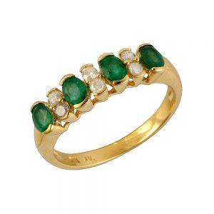 9 Carat Gold Emerald and Diamond Ring