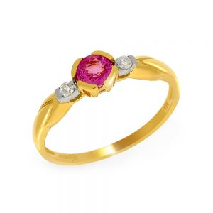 9 Carat Gold Pink Sapphire and Diamond 3 Stone Ring