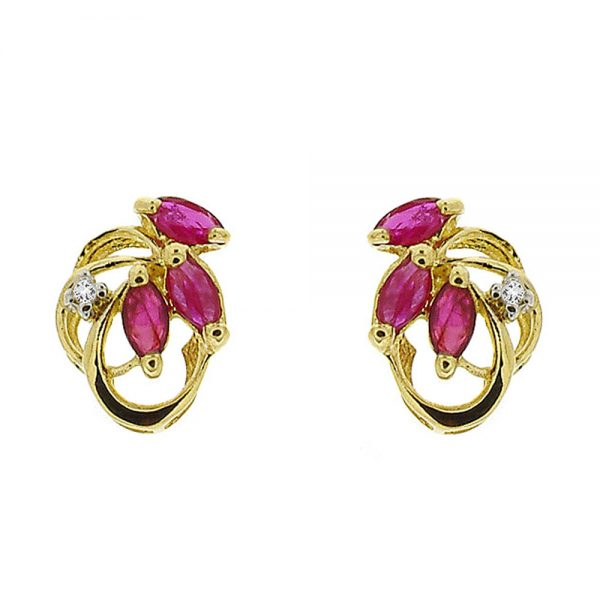 9 Carat Gold Ruby and Diamond Stud Earrings