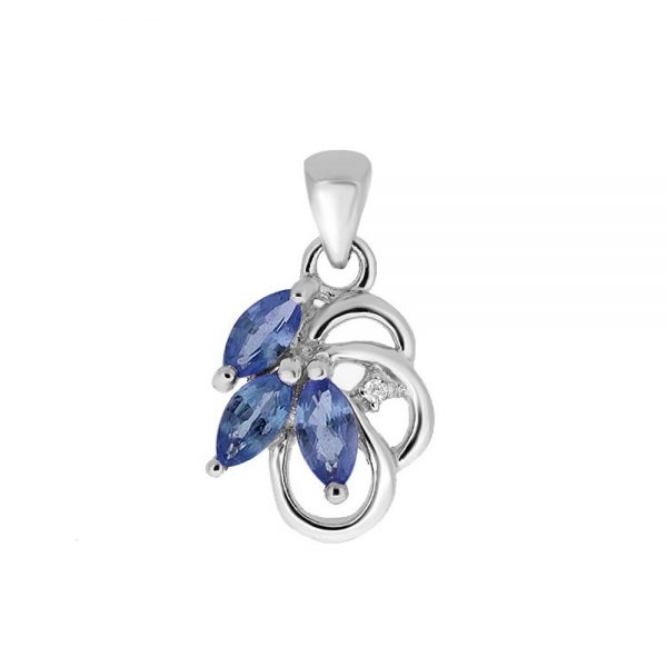 9 Carat White Gold Sapphire and Diamond Pendant