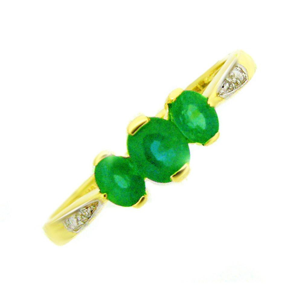 9 Carat Gold Emerald and Diamond 3 Stone Ring