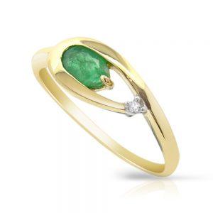 9 Carat Gold Emerald and Diamond Ring
