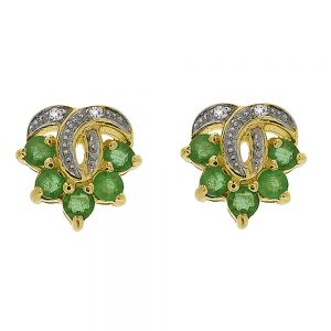 9 Carat Gold Emerald and Diamond Stud Earrings