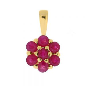 9 Carat Gold Ruby Cluster Pendant