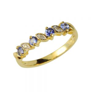 9 Carat Gold Tanzanite and Diamond Eternity Ring