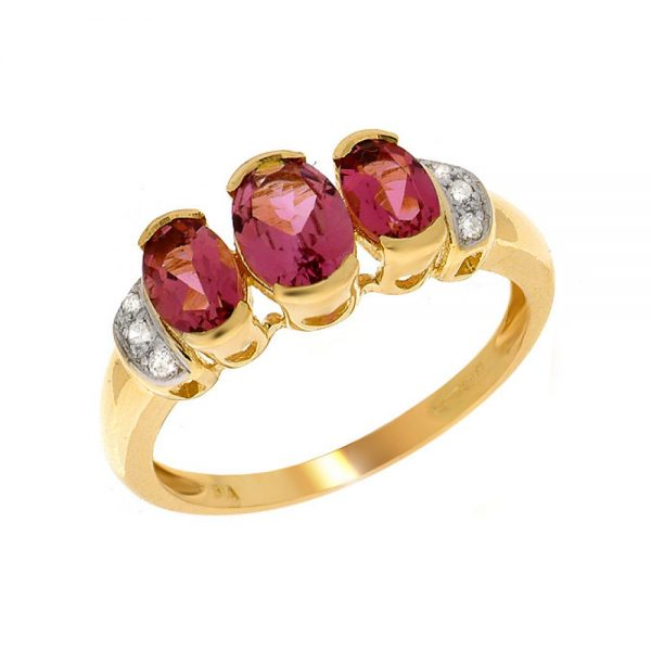 9 Carat Gold Pink Tourmaline and Diamond 3 Stone Ring