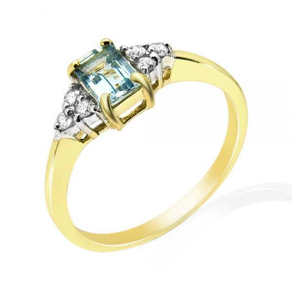 9 Carat Gold Aquamarine and Diamond Ring