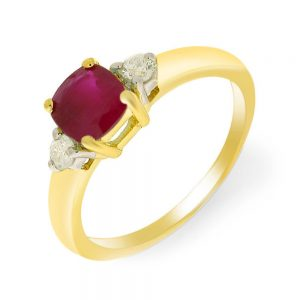 9 Carat Ruby and Diamond 3 Stone Ring
