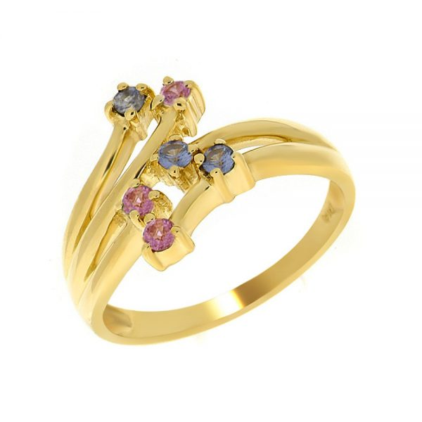 9 Carat Gold Pink Sapphire and Tanzanite Ring