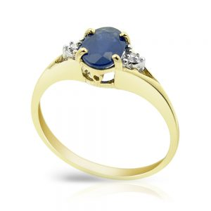 9 Carat Gold Sapphire and Diamond 3 Stone Ring