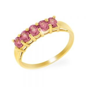 9 Carat Gold Pink-Orange Sapphire 5 Stone Ring
