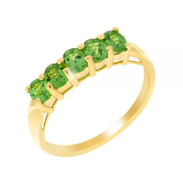 9 Carat Gold Tsavorite Garnet 5 Stone Ring