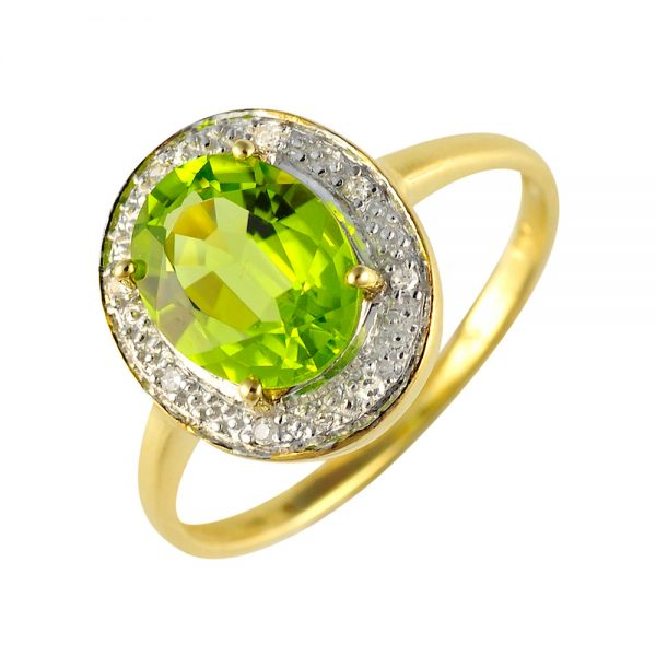 9 Carat Gold Peridot and Diamond Cluster Ring