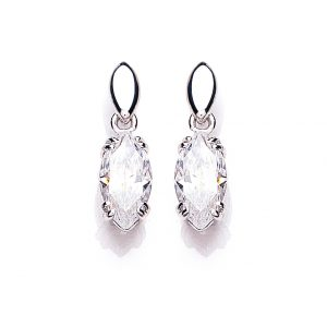 9 Carat White Gold Cubic Zirconia Drop Earrings
