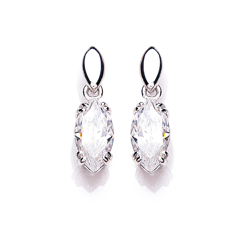 9 Carat White Gold Cubic Zirconia Drop Earrings
