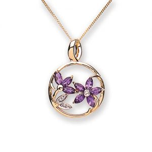 9 Carat gold Amethyst and Diamond Pendant