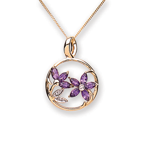 9 Carat gold Amethyst and Diamond Pendant