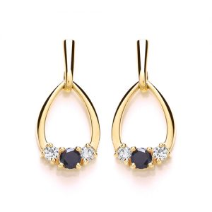 9 Carat Gold Sapphire and CZ Drop Earrings