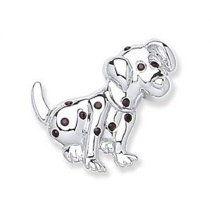 Rhodium Plate Spotty Dog Brooch