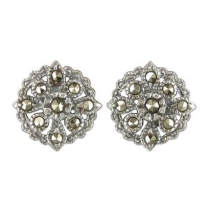 Sterling Silver and Marcasite Stud Earrings