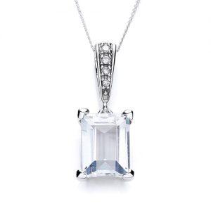 9 Carat White Gold Aqua Marine and Diamond Pendant