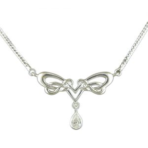 Sterling Silver Celtic Design CZ Necklace