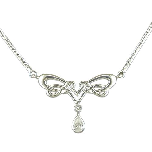 Sterling Silver Celtic Design CZ Necklace