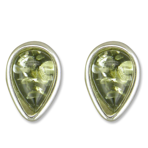 Sterling Silver Green Amber Stud Earrings