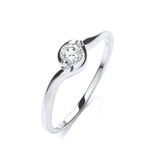 9 carat white gold cubic zirconia single ring h j