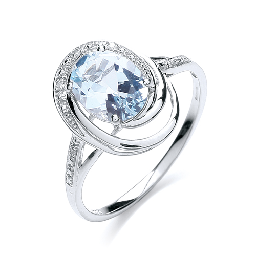9 Carat White Gold Blue Topaz and Diamond Ring