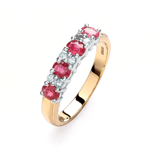 9 Carat Yellow Gold Ruby and Diamond Eternity Ring