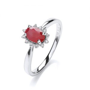9 Carat White Gold Ruby and Diamond Ring