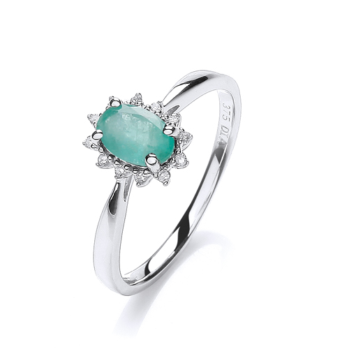 9 Carat White Gold Emerald and Diamond Ring