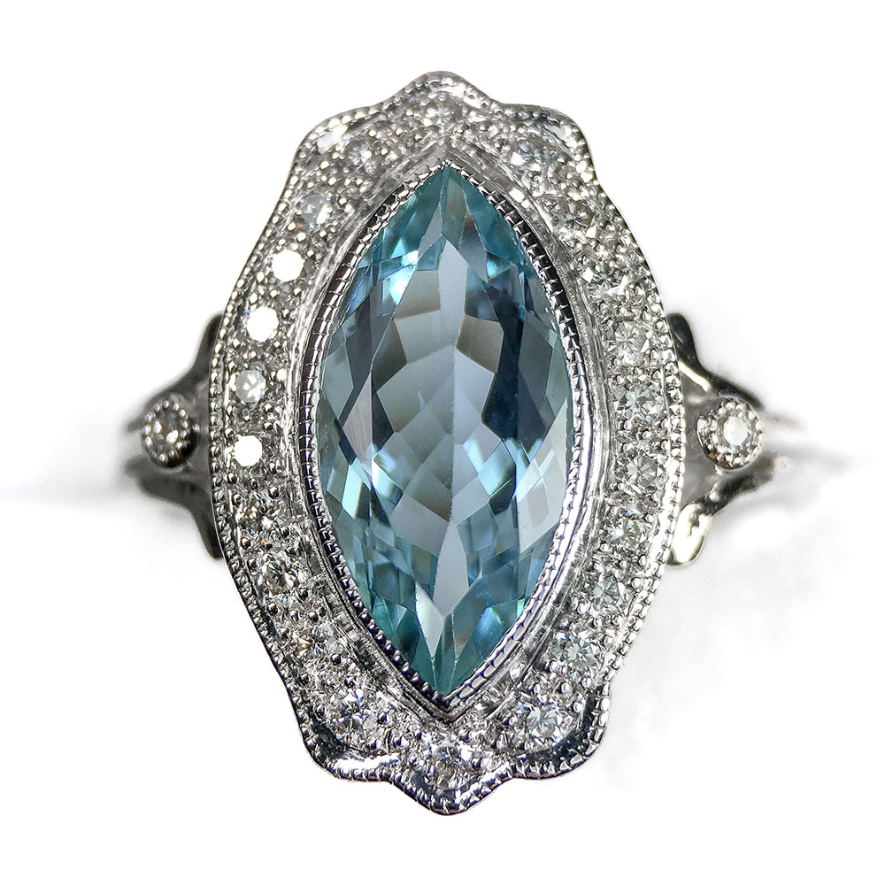 Aquamarine White Gold Ring