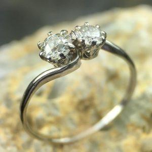 Diamond Two Stone Cross-over Ring