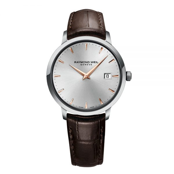 Raymond Weil Mens Slim Silver Brown Leather Strap