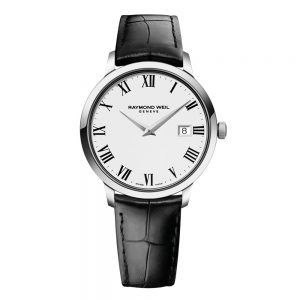 Raymond Weil Gent's TOCCATA Steel on leather strap white dial Watch