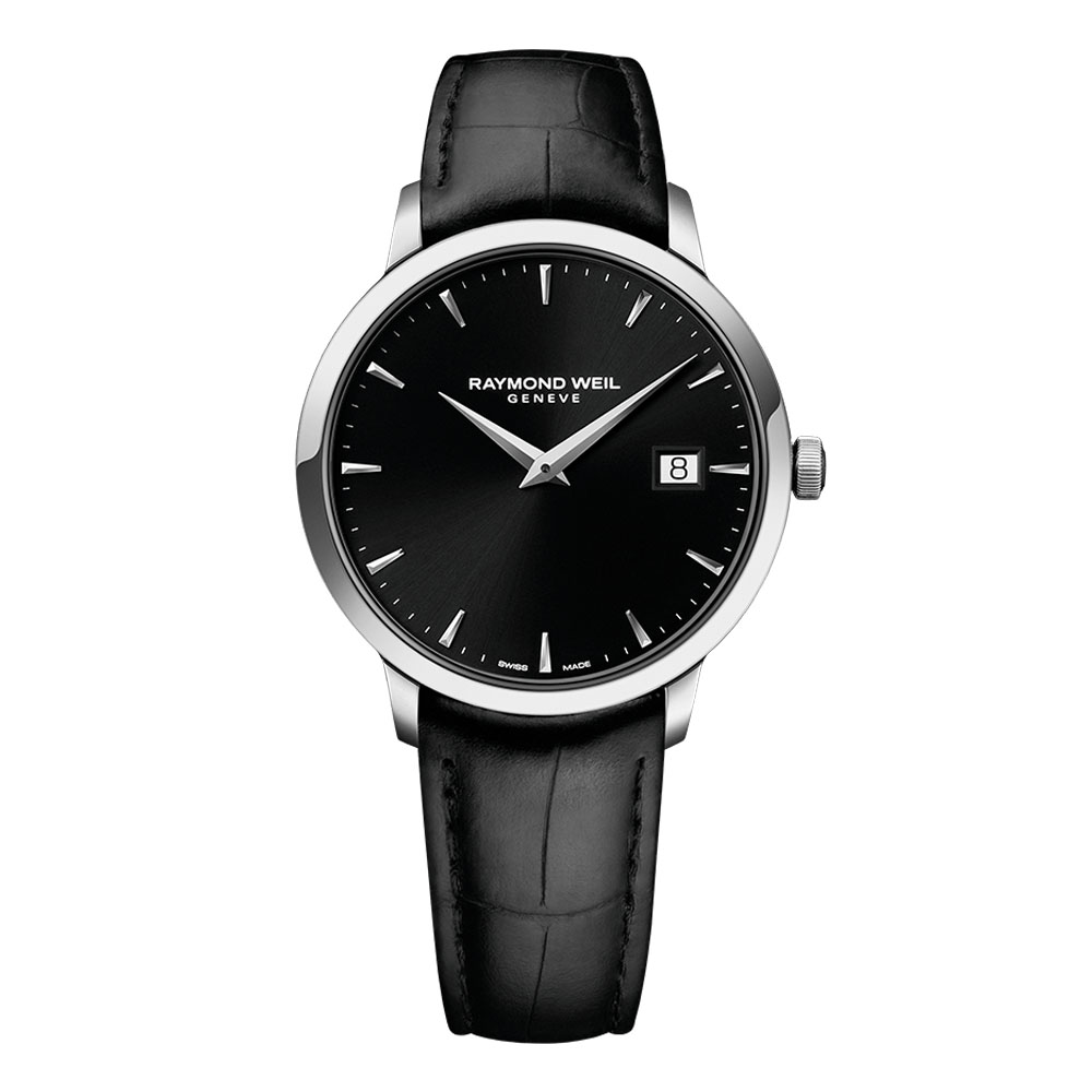 TOCCATA Steel on leather strap black dial