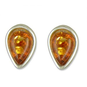 Amber Silver Studs
