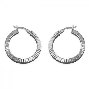 Silver diamond-cut creole hoop