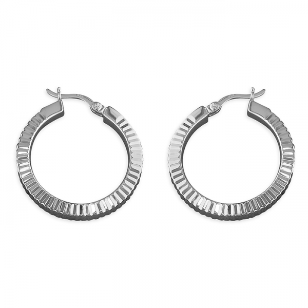 Silver diamond-cut creole hoop