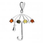 Silver Mixed amber umbrella pendant