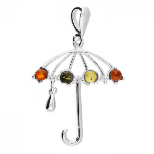 Silver Mixed amber umbrella pendant