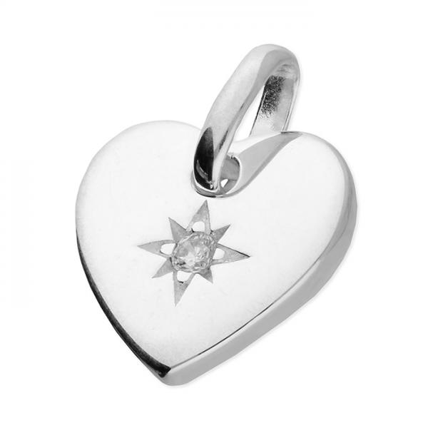 Silver Heart CZ Pendant