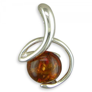 Sterling Silver Cognac amber Pendant