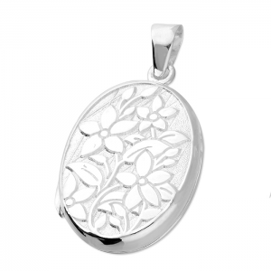 Silver flower locket