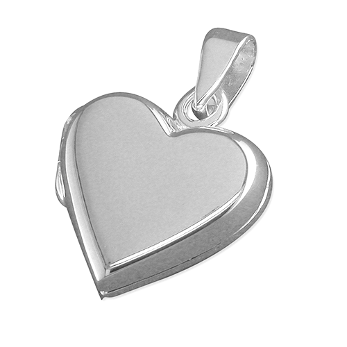 Silver Flat Plain Heart Locket