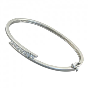 Silver CZ set Bangle