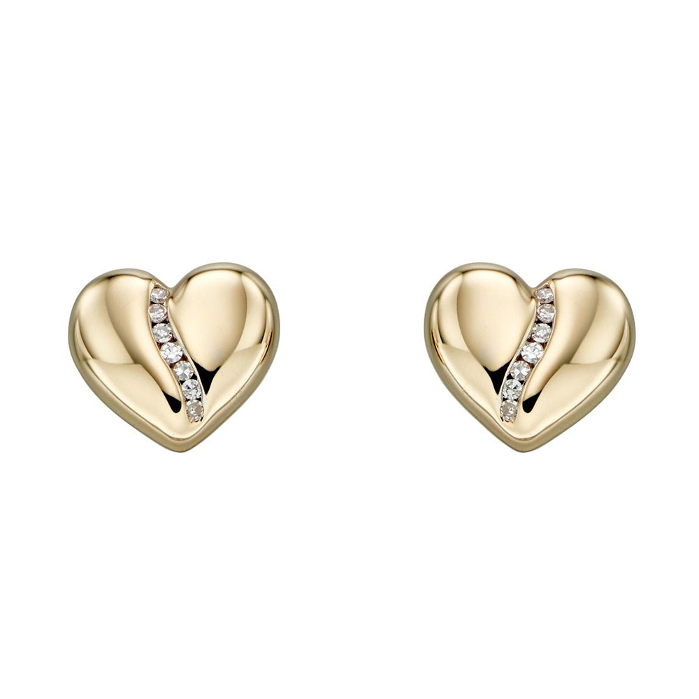 Gold and Diamond Heart Studs